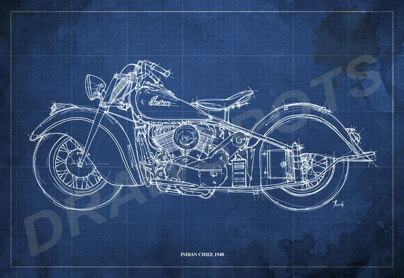 Indian chief 1948 blueprint art print 128 in motorcycle art print indian chief 1948 blueprint art print 12x8 in motorcycle art print 230gr archival matte malvernweather Images