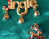 Vintage Jingle Bells and Reindeer Pins signed by JJ and Avon