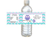 Personalized Purple & Teal Owl Waterproof Water Bottle Labels - baby shower label -set of 12
