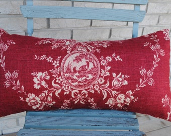 "Red toile Country house French toile pillow cover 12"" by 24"""