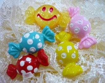 5 pcs Assorted Dotted Wrapped Sweet Cabochons Flatback Kawaii Deco