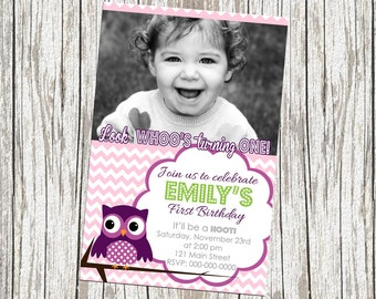 Owl Birthday Invite - with Photo