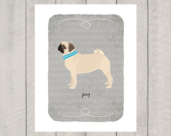 Fawn Pug Breed Custom Dog Art Print