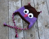 Toddler crochet owl hat with ties in brown and purple READY TO SHIP