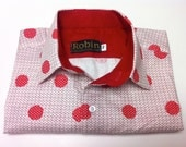 Men's shirt in white with red polka dots on a check grid with red block colour inside collar, cuffs. Long sleeves. Super soft cotton