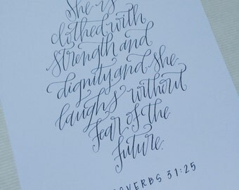 Proverbs 31 Print - Gray 8x10