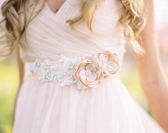 Champagne Bridal Flower Sash. Bridal Gown Flower Sash.