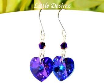 Purple Heart Earrings Swarovksi Heart Crystal Heliotrope Earrings Amethyst Earrings Violet Earrings Plum Heart Jewelry Sparkly Earrings HE37