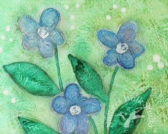 Forget Me Not Blue Flower Abstract PRINT, Whimsical Summer Flower Textured Painting, 5 x 7 Miniature Art