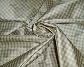 TAPESTRIA FRENCH COUNTRY Gingham Check Silk Fabric 10 yards Celadon Cream Mint