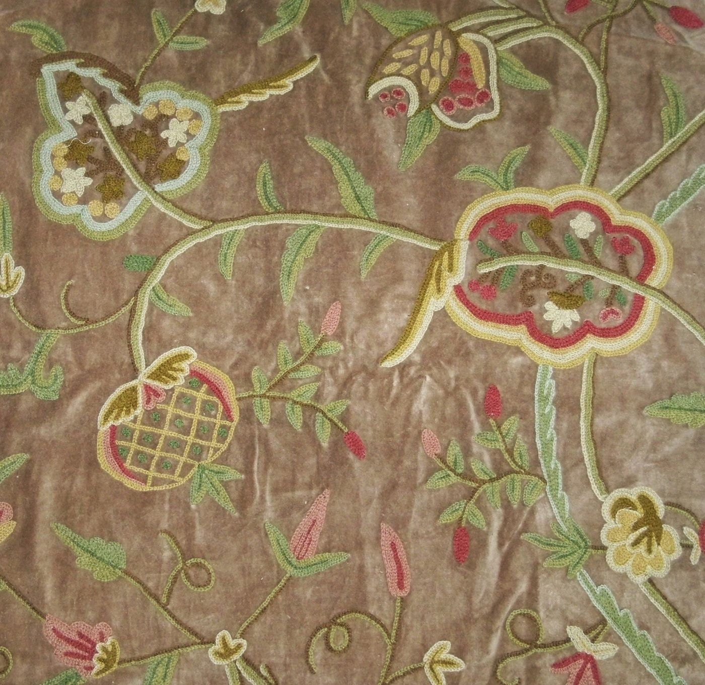 Pasari jakara jacobean wool crewel embroidered velvet fabric