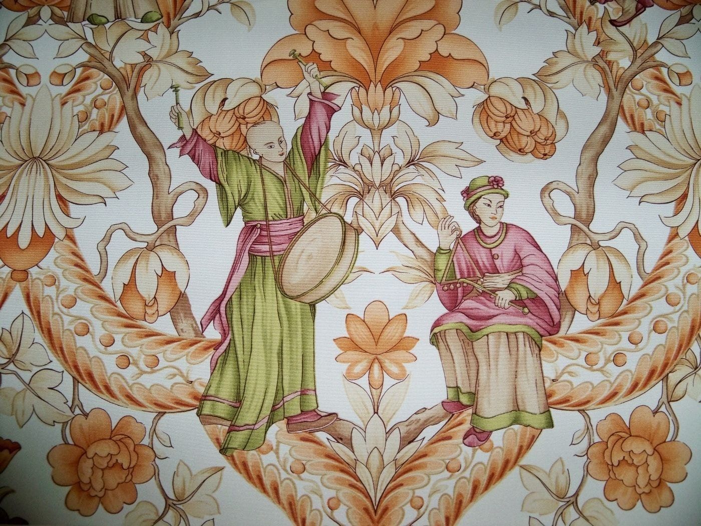 QUADRILLE CHINOISERIE GEISHA Asian Toile Fabric by