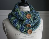 mulit-colour (blue, green, tan, beige)  Cowl Scarf with 3 wooden buttons, crocheted