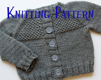PDF Knitting Pattern - Honeycomb Cardigan, Infant Sweater, Baby Toddler Knitting Pattern, Baby Cardigan Pattern