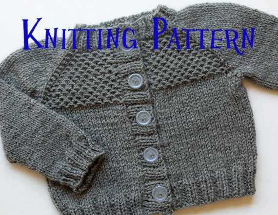 Knitted Cardigan Pattern For Toddler : PDF Knitting Pattern Honeycomb Cardigan Infant Sweater