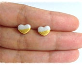Pearl Gold Dipped Heart Earrings - SE34