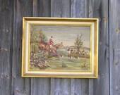 Antique vintage gobelin tapestry picture tapestry wall hanging large hunting tapestry hunter carpet framed frame