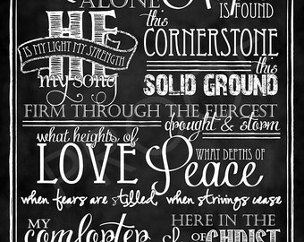 "Hymn ""In Christ Alone"" - Chalkboard Style Art"