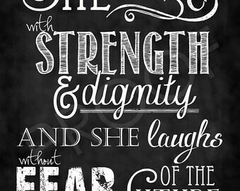 Scripture Art  - Proverbs 31:25 Chalkboard Style