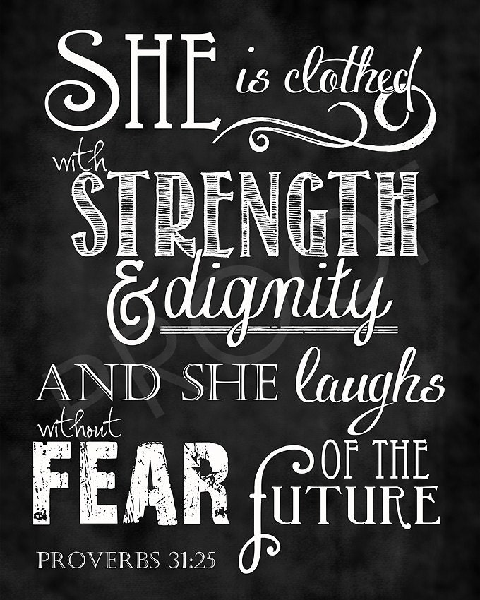 Proverbs 31 25: Scripture Art Proverbs 31:25 Chalkboard Style