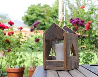Reclaimed Wood Antique Mason Jar Lantern