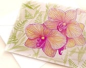 Gardening watercolor pink orchids, notecard set of 5 cards, Eco-friendly