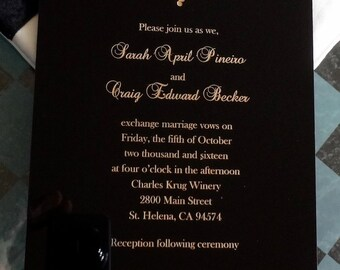 Black Acrylic Vineyard Invitation