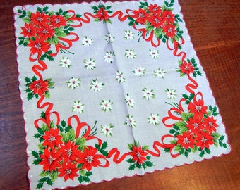 Vintage Christmas Handkerchief - poinsettias - red and white
