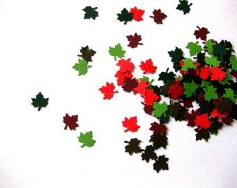 Mini Leaf Confetti - 100 Count Leaf Die Cuts Light Green Dark Green Red and Burgundy Maroon Leaves Autumn Fall Leaves