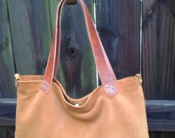 Boho Style Caramel Suede Tote Bag w/ Leather Straps
