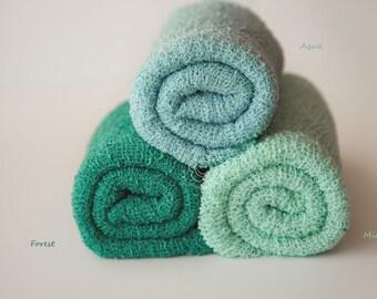 Newborn Knit Stretch Wrap, Newborn Photo Prop, Baby Stretch Wrap, Textured Newborn Wrap, RTS - Forest, Mint, Aqua, Sage