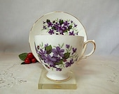 Vintage Teacup and Saucer Purple Violets Queen Anne