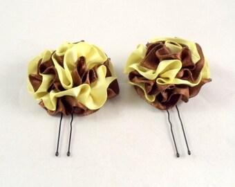 Hair Pins Chocolate Brown and Buttercup Yellow Satin Ruffle Flower Women Teens Girls Wedding Bridal Bridesmaids Flowergirls