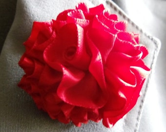 Red Lapel Pin Brooch Pin Flower Pin Boutonniere