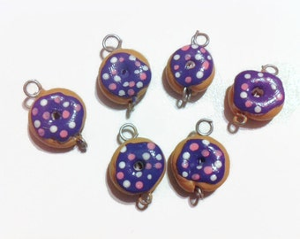 Purple Doughnut Charms (6 pieces), doughnut charms, polymer clay charms, food jewelry, handmade charms, kawaii, sprinkles, clay supplies,