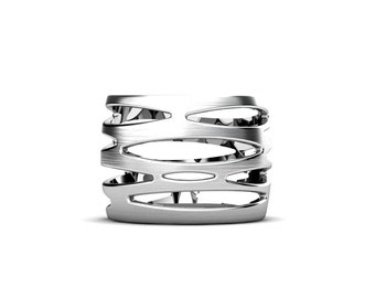 Curvey Organic style Sterling Silver Band, One of kind silver ring, Marquis shape pattern wide band, Handmade by Gwen Park Jewelry Designs