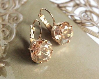 Swarovski Crystal Cushion Cut Drop Earrings in Golden Shadow