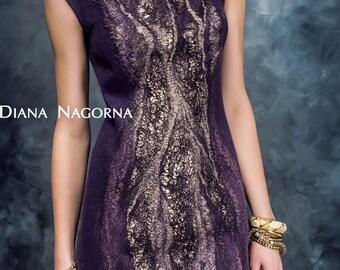 "Felted dress ""Lilu"", fashionable clothes, shiny dress, elegant dress, Eggplant, beautiful dress, hand felting"