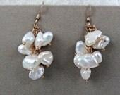 White Keshi Pearl Cluster Dangle Earrings with Gold, Handmade