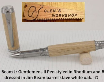 Jim Beam Bourbon Rollerball Pen Handmade Gel Pen Black Titanium Rhodium White Oak