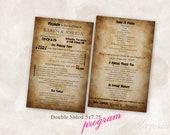 Wedding Program Double Sided Instant Download TEMPLATE vintage Just add your info and print!
