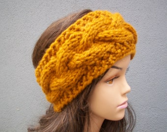 Winter headband with button closure women teen girl headband wool acrylic blend headband ear warmer butterscotch or select color
