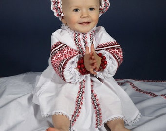Newborn set: Embroidered dress, cap, kryzhma. Children's folk cotton costume. Vyshyvanka Newborn Outfit. Ukrainian Baptismal set for baby.