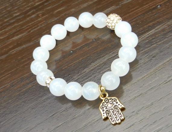 Protective White Agate Bracelet with Gold Hamsa Charm & Swarovski Crystal, Reiki Infused Yoga Jewelry