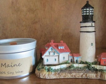 Maine. 8oz Soy Tin Candle with Wood Wick.