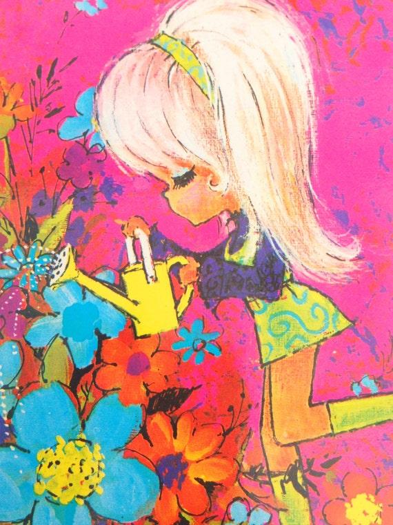 Vintage Postcard 70's Cute Girl watering the flowers