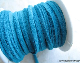 3mm Flat Turquoise Aqua Suede Leather Cord 1/8th inch (2 YARDS) - great for necklaces and bracelets