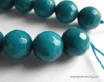 "Teal Candy Jade 12mm Faceted Round Beads, 6.5"" strand (14 pieces)"