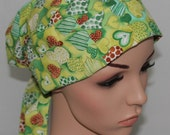 Pleated back Surgical Scrub Hat with band. St. Patrick's Day Hearts 21053