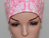 Surgical Scrub Hat/ Mini Chemo style hat with band. Pink Damask  12184